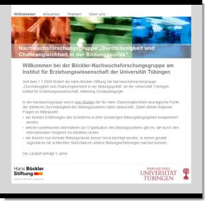 Screenshot Website Nachwuchsforschungsgruppe