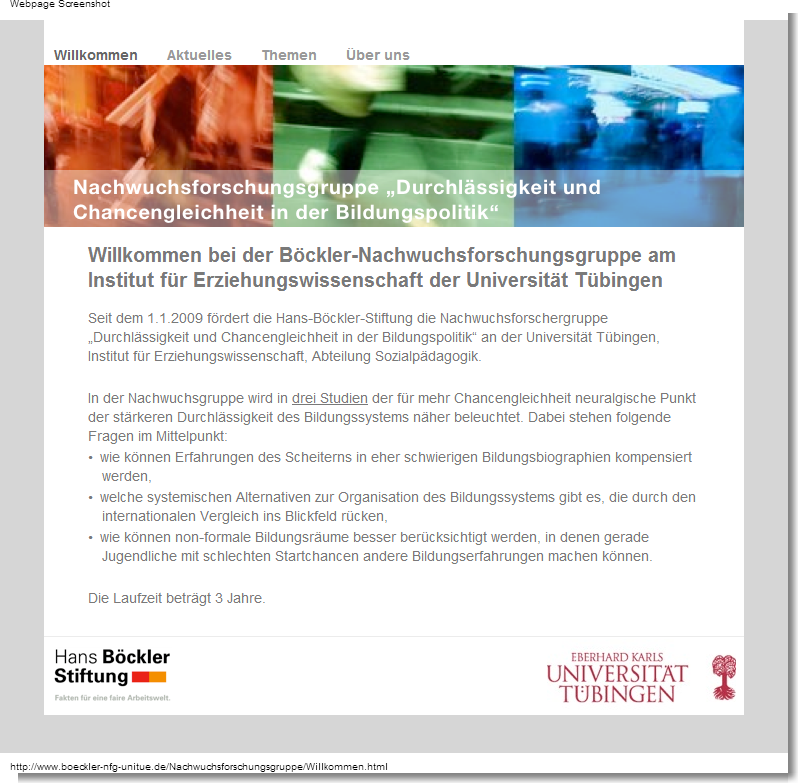 Screenshot Website Nachwuchsforschungsgruppe