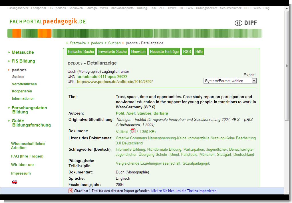 Screenshot Fachportal Pädagogik