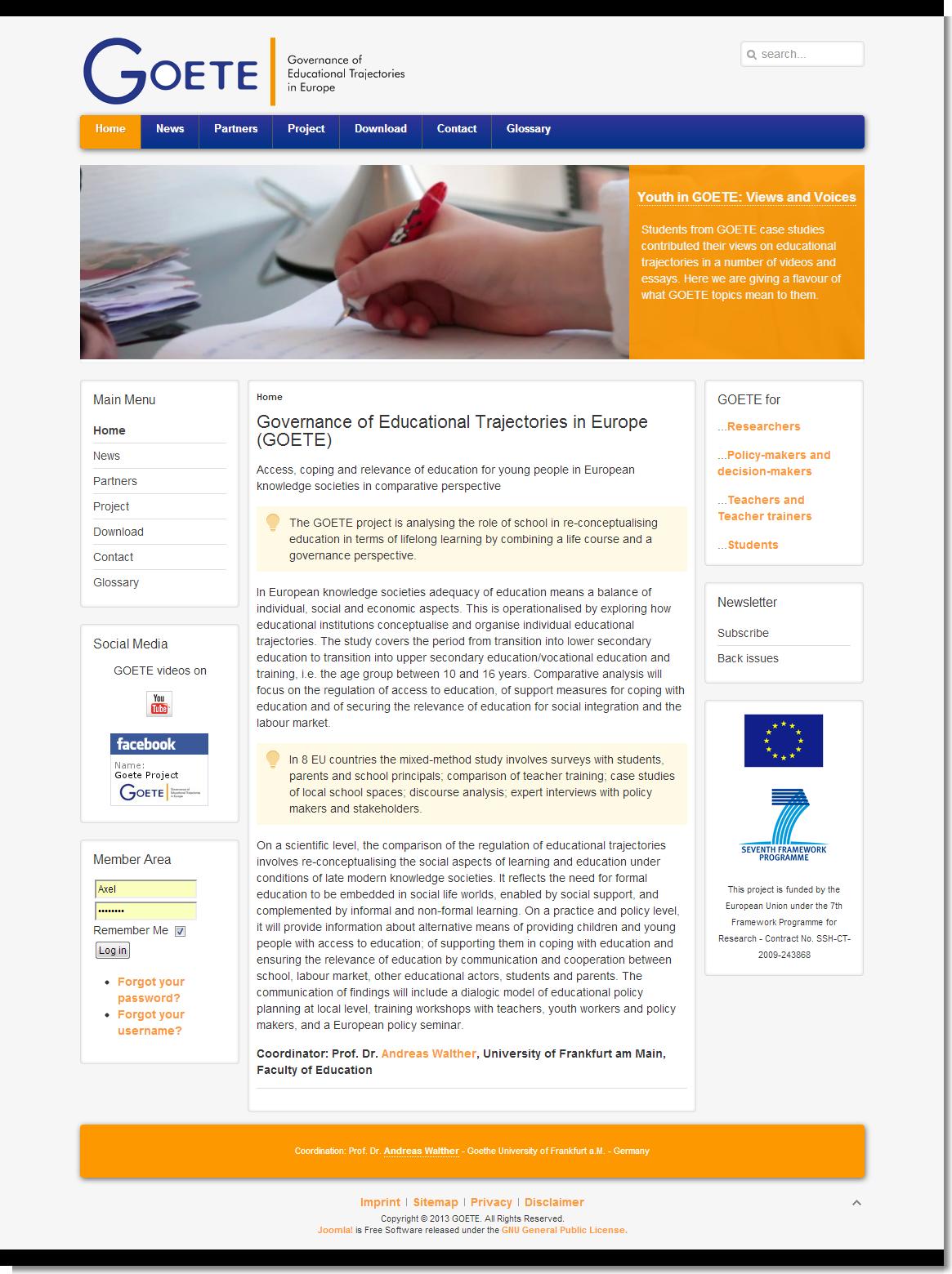 Screenshot GOETE-website