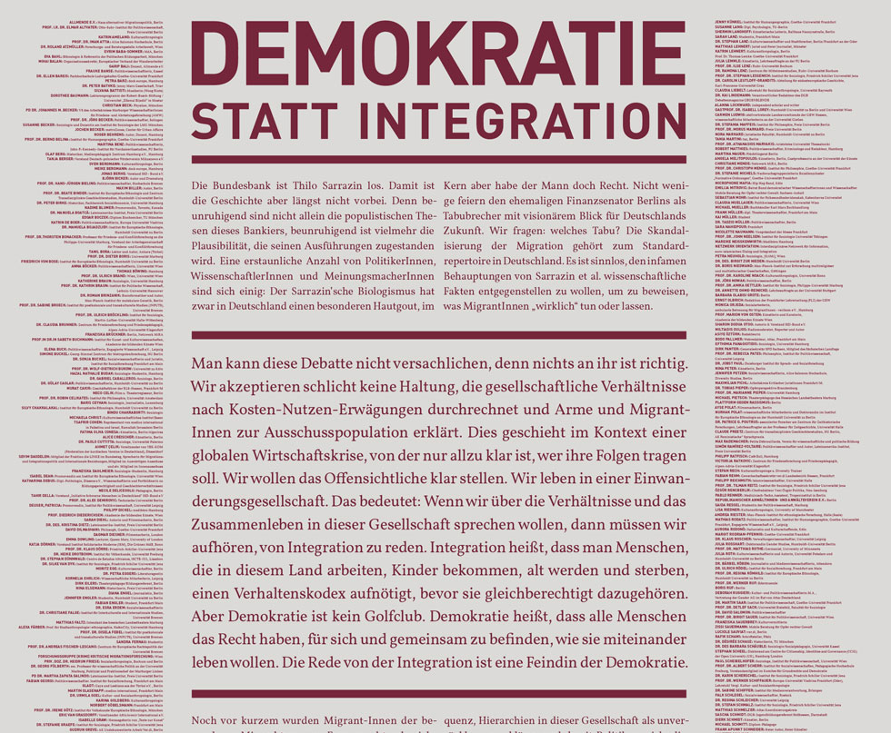 Demokratie statt Integration-Aufruf