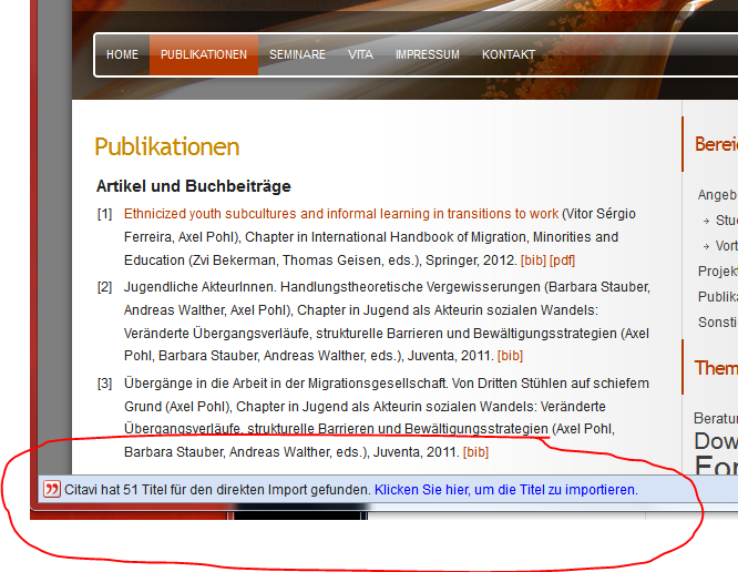 Screenshot Firefox mit Citavi Add-On