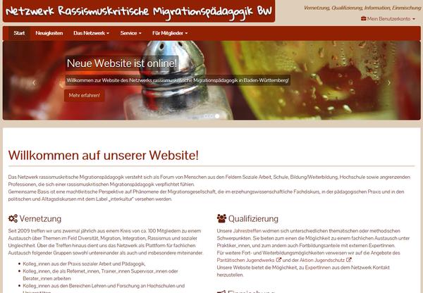 Screenshot Website des Netzwerks